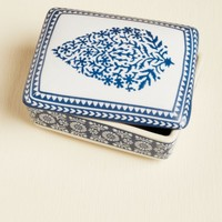 Small Blue Leaf Ceramic Box