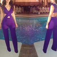 Sexy Womens Purple Deep V Neck Sleeveless Cut Out Jumpsuit Romper Clubwear