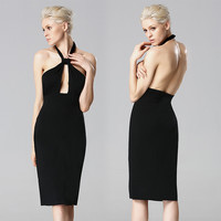 Sleeveless Halter Neck Keyhole Backless Dress