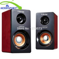 Mini USB 2 in1 Computer Speakers for Notebook and Computer Mobile Phone MP3/MP4 Stereo Sound Plug and Play Wooden Power Speakers
