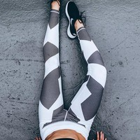 Slim Hot Sale Geometric Print Yoga Sports Leggings [9461668615]