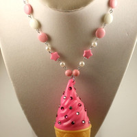 Fairy Kei Pink Rhinestone Ice Cream Necklace in Strawberry with Pink Chain and Beads