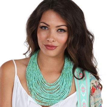 Sale- Mint Seed Beaded Necklace