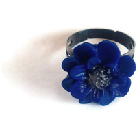 Polymer Clay Jewelry, Blue Bronze Band, Adjustable One Size Fits All, Cool Flower Girl Ring, Unique Floral Accessory, Proceeds to Charity