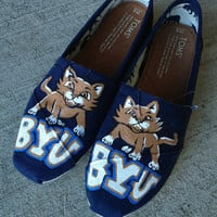 BYU college hand painted toms