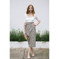 Brenna Printed Wrap Midi Skirt