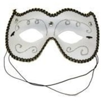 White Venetian Masquerade Mask with Glitter Scrollwork and Acrylic Stones