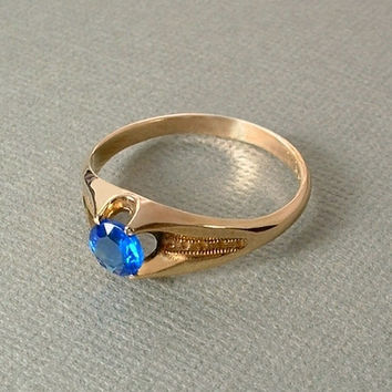 MENS Antique Victorian BELCHER Ring Sapphire BLUE Synthetic Stone Gold Filled Engraved Setting Size 12 Signed c.1900s