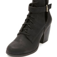 Cut-Out Belted Lace-Up Booties