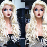 """USA // 25"""" Human Hair BLEND Platinum Blonde Wavy Swiss Lace Front & Heat OK Curly Long Wig w/ Baby Hairs"""
