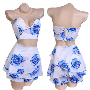 Strapless Padded Backless Top And Shorts