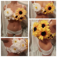 Daisy and Sunflower Rave Bra, Rave Outfit,  Outfit for EDC