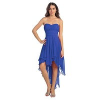 Multi Layer Chiffon Bridesmaid Dress Royal Blue High Low Strapless