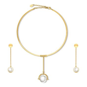 Gold-Tone Simulated Pearl Ball Bead Open Circle Choker Necklace and Earrings SetBe the first to write a reviewSKU# vs508-02