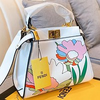 Fendi  Fashion New Floral Print Leather Shoulder Bag Crossbody Bag Handbag White