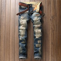 Ripped Holes Men's Fashion Pants Jeans [10766086659]