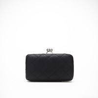 Quilted Faux Leather Box Clutch