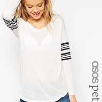 ASOS Petite | ASOS PETITE V Neck Stripe Sleeve Top In Texture at ASOS