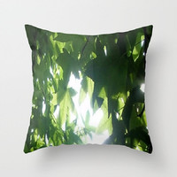 Green, Leaves, Sun, Tree - Decorative Throw Pillow Cover, 3 Sizes Available - Nursery, Guest Room, Newlyweds, Home - Made To Order - GL#55