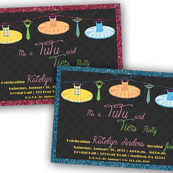 Ties and TuTus Birthday Party Invitation - 1st BIrthday Invitations - Twins Birthday - Boy Girl Birthday Ideas - Faux Glitter - Pink - Blue