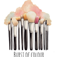 Makeup Brushes Illustration Art Print by PaintPallet