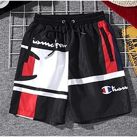 Champion Trending Popular Women Men Casual Print Sport Running Shorts Black