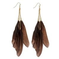 Long Brown Feather Earrings