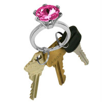 Bling Diamond Ring Key Chain - Rose Color Stone
