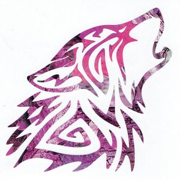 Wolf Tribal Pink Tree Camo Heavy 5 Mil Vinyl Decal Truck/Car