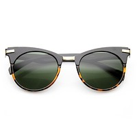 Retro High Temple Cat Eye Horned Rim Round Sunglasses 9615