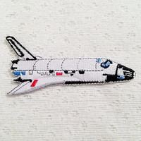 Space Shuttle - Astronaut - Astronomy - Nasa - Galaxy New Iron On Patch Embroidered Applique Size 8.9cm.x4.1cm.