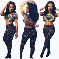 American Guns and Roses Crop Top and Pants Set
