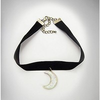 Black Velvet Crescent Moon Choker Necklace - Spencer's