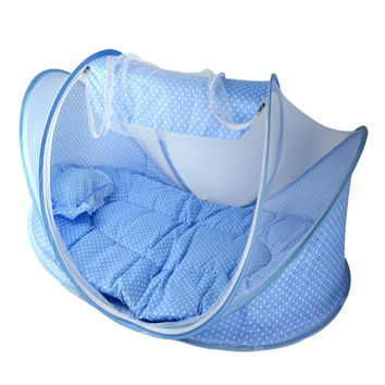 Portable Travel Baby Crib With Mosquito Net Padded Mattress n Pillow Tent Bed Shelter