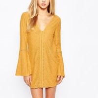 Missguided Ladder Detail Bell Sleeve Swing Dress