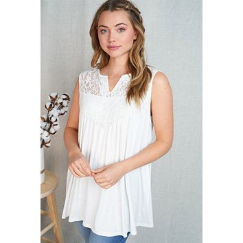 In My Element White Lace Babydoll Tank Top