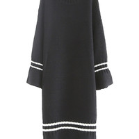 Black Stripe Flare Sleeve Flounce Hem Knit Dress