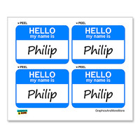 Philip Hello My Name Is - Sheet of 4 Stickers
