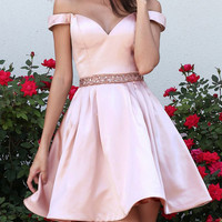 Baby Pink Sweetheart Two Pieces A Line Homecoming Dress