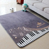 130X150CM Piano Notes Carpets For Living Room Home Area Rugs