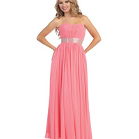 Coral Full Length Strapless Corset Back Gown Prom 2015