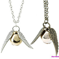 Hot Sale Occident Retro Fashion Harry Potter Snitch Gold Pendant Necklace Chain Free Shipping