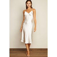 Satin Slip Midi Dress - Eggshell