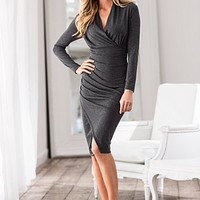 Surplice Ruched Dress