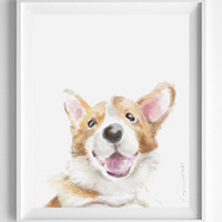 Pembroke Welsh Corgi Painting, Corgi Art, puppy art, dog portrait, dog lover gift, dog art, Nursery Art, dog painting, Baby Room Decor