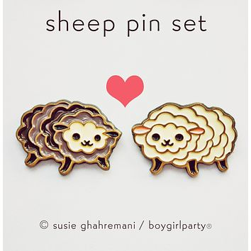 Sheep Pin Set - Friendship Jewelry Set - BFF Enamel Pin Set - Lapel Pin Set