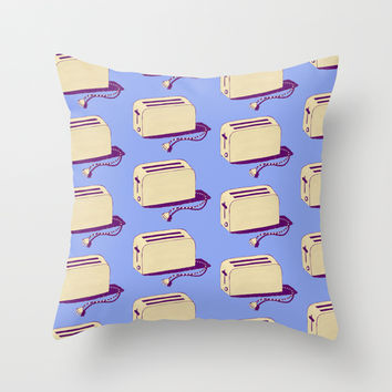 Toaster (blue & cream) Throw Pillow by The Wallpaper Files | Society6