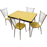 Mid-Century Yellow Formica Kitchen Table and Chair Set