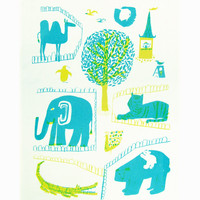 Kauniste Zoo Kitchen Towel - Yellow