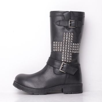Laceys London Black Leather Cross Studded Biker Boots